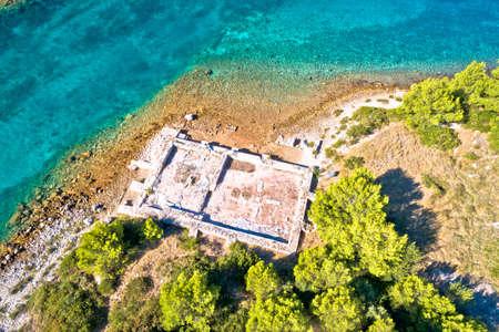 Roman  historic villa Rustica ruins aerial view, Dugi Otok island, Kornati archipelago of Croatia Фото со стока