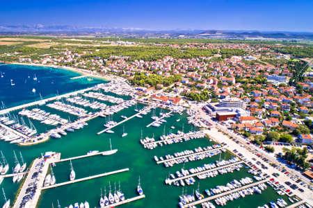 Biograd na Moru coastline and marina aerial view, Dalmatia archipelago of Croatia Фото со стока