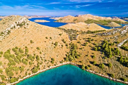 Kornati. Stone desert island archipelago landscape of Kornati national park aerial view, Dalmatia region of Croatia Фото со стока