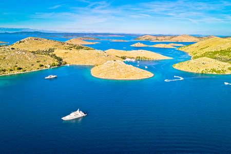 Kornati. Island archipelago of Kornati national park yachting destination aerial view, Dalmatia region of Croatia Фото со стока