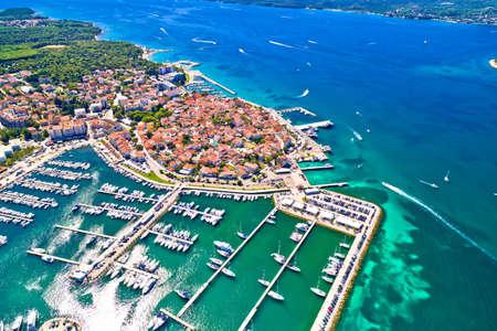 Biograd na Moru historic coastal town aerial view, Dalmatia region of Croatia