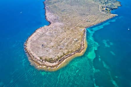 Stone desert island of Zecevo aerial view, Zadar archipelago of Croatia