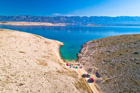 Vrsi. Zadar archipelago idyllic cove beach in stone desert scenery near Zecevo island, Dalmatia region of Croatia
