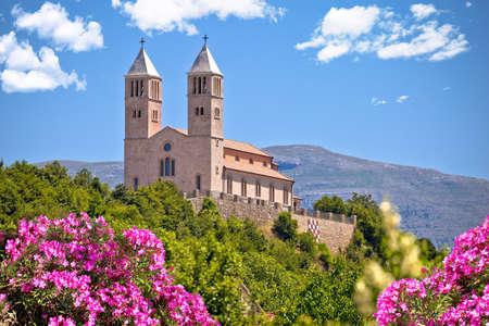Village of Kijevo croatian church on the hill, Dalmatian Hinterland of Croatia Фото со стока