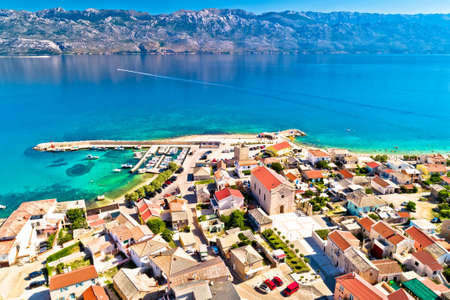 Razanac. Historic town of Razanac and Velebit channel aerial view, Dalmatia region of Croatia Фото со стока