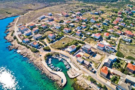 Razanac. Historic town of Razanac beach and waterfront aerial view, Dalmatia region of Croatia