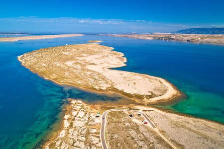 Zecevo passage. Stone desert island of Zecevo and Velebit mountain aerial view. Zadar archipelago of Croatia