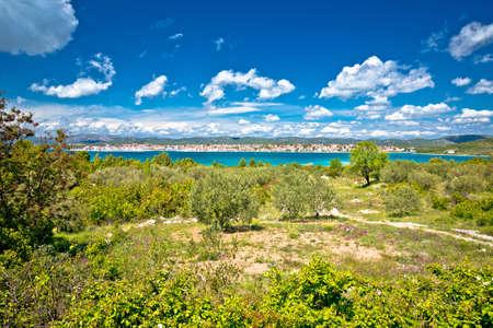 Coastal town of Pirovac waterfront view, Dalmatia archipelago of Croatia Фото со стока
