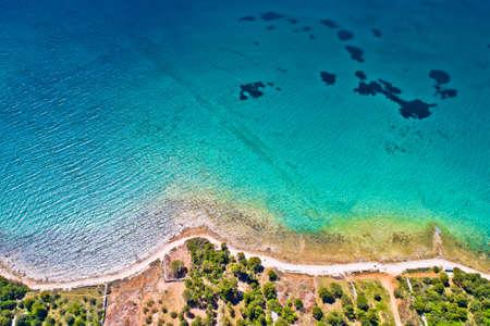 Biograd na Moru idyllic turquoise beach aerial view, Dalmatia region of Croatia