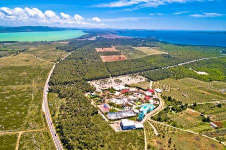 Adriatic sea and Vransko lake aerial view near Crvena Luka, Town of Pakostane, Dalmatia region of Croatia