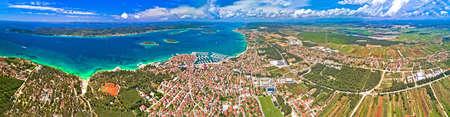 Biograd na Moru archipelago and Ravni Kotari panoramic aerial view, coastline landscape of Croatia Фото со стока
