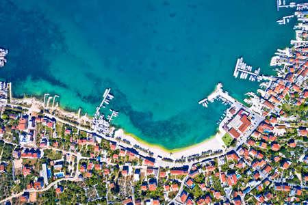 Town of Murter waterfront aerial view, Murter island archipelago  in Dalmatia, Croatia Фото со стока