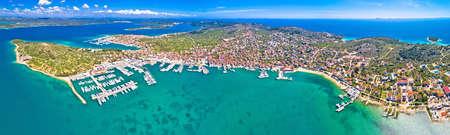 Island of Murter archipelago aerial panoramic view, Dalmatia region of Croatia