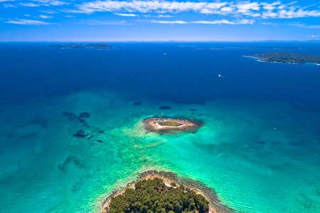 Crvena Luka turquoise beach and archipelago of Adriatic sea aerial view, Dalmatia region of Croatia Фото со стока