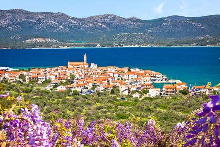 Historic town of Betina skyline view, island of Murter, archipelago of Dalmatia, Croatia Фото со стока