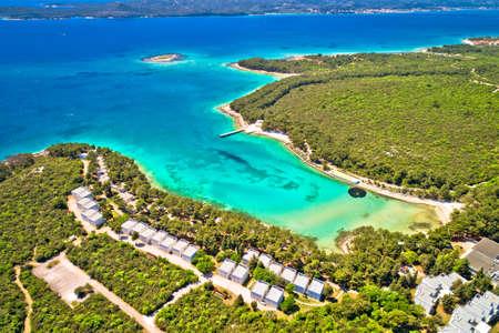 Crvena Luka turquoise beach and Vransko lake aerial view, Dalmatia region of Croatia Фото со стока