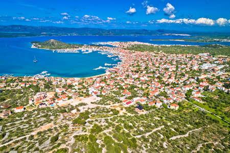 Island of Murter archipelago aerial view, Towns of Murter and Betina, Dalmatia region of Croatia