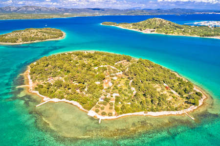Murter island archipelago islands aerial view, Dalmatia region of Croatia Фото со стока