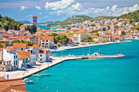 Coastal town of Tisno waterfront view, bridge to island of Murter, Dalmatia, Croatia
