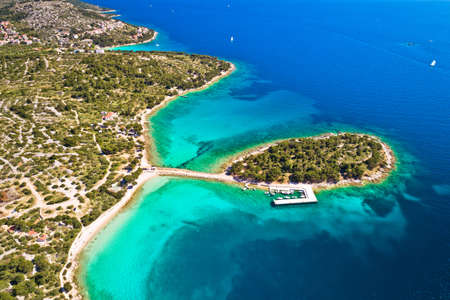 Island of Murter turquoise lagoon beach Podvrske aerial view, Dalmatia archipelago of Croatia