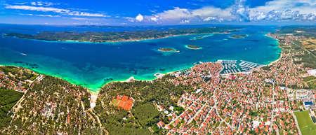 Biograd na Moru archipelago panoramic aerial view, coastline landscape of Croatia Фото со стока