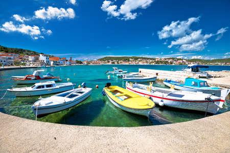 Coastal town of Tisno turquoise waterfront view, bridge to island of Murter, Dalmatia, Croatia