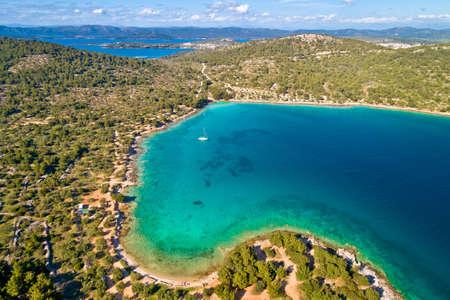 Kosirna beach and turquoise bay on Murter island aerial view, Dalmatia archipelago of Croatia Фото со стока