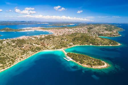 Island of Murter and turquoise beaches aerial view, Dalmatia archipelago of Croatia Фото со стока