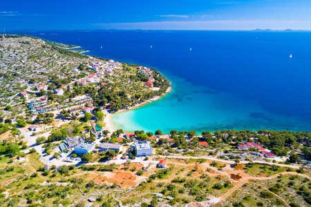Island of Murter turquoise lagoon beach Slanica aerial view, Dalmatia archipelago of Croatia
