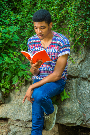 sleeve: Man Reading Outside. Wearing a short sleeve, collarless, colorful pattern shirt, blue jeans, a young college student is sitting against rocks with green leaves, looking down, reading a red book, Stock Photo