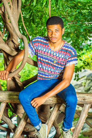Young Black Man Relaxing Outside. Wearing a colorful pattern shirt, blue jeans, necklace, a young handsome guy is sitting on tree trunk, charmingly looking at you.