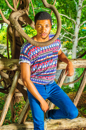 Wearing colorful pattern shirt, blue jeans, a young handsome guy standing against a wooden fence, a tree branch around his neck, confidently looking at you. Concept of someone in difficult situation. Stock Photo