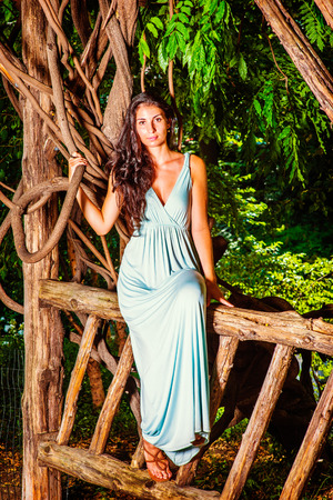 Portrait of Pretty Lady. Dressing in a light blue long dress, a young attractive woman with long curly hair is sitting on wooden fence, holding a curve branch of rattan, patiently waiting for you.
