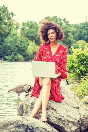 Young African American College Student with afro hair, wearing red patterned dress, barefoot, sitting on rocks by lake at Central Park, New York City, working on laptop computer, looking, thinking. Stockfoto