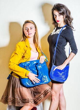 Two young beautiful women, one wearing long sleeve yellow corduroy jacket, dark brown mesh skirt, holding blue leather bag, other wearing black dress, shoulder carrying blue leather purse bag. Foto de archivo