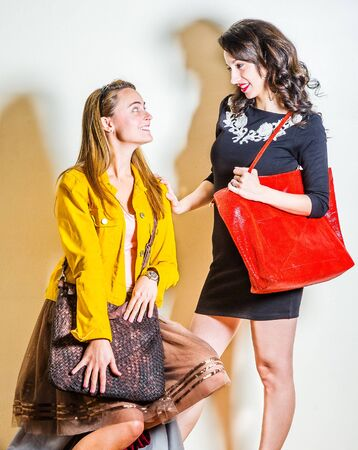 Two young beautiful women, one wearing long sleeve yellow corduroy jacket, dark brown mesh skirt, carrying leather bag, other wearing black dress, shoulder carrying red leather bag, talking other.