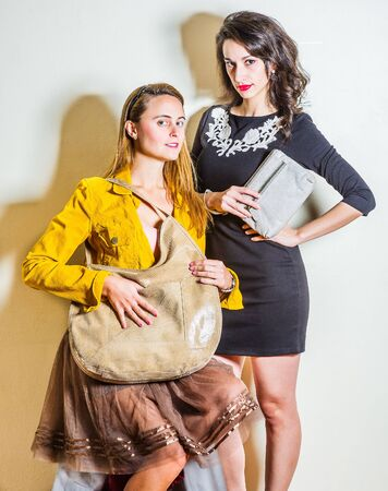 Two young beautiful women, one wearing long sleeve yellow corduroy jacket, dark brown mesh skirt, carrying beige leather shoulder bag, other wearing black dress, holding gray leather purse.
