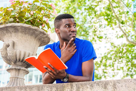Young African American College Student studying in New York, wearing blue short sleeve T shirt, standing, back bending forward on top of wall on campus, holding red book, hand touching thin, thinking. Stock fotó