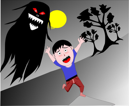 chased: A boy having nightmare Illustration