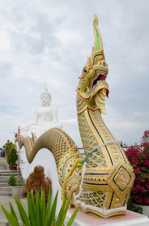 naga china: Naga statue and White Buddha statue with cloud in the sky, Thailand