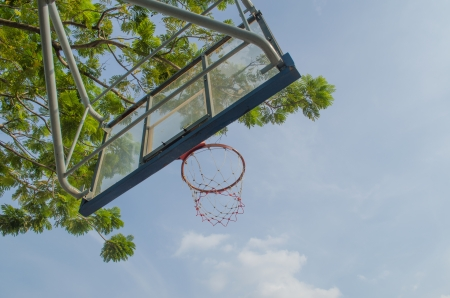 close up Basketball with daylight and blue sky photo