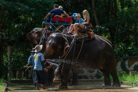 Samui, Thailand 27 Dec 2015 Tourist ride a elephant