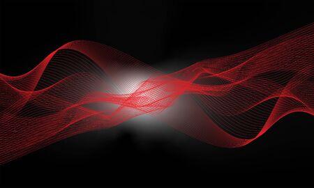 red wave form blend and hi-light with black background