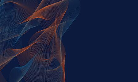 colorful wave line and blue background Ilustração