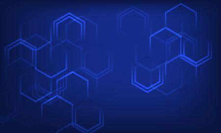 Blue sci-fi hexagonal abstract background Ilustração