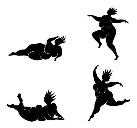 fat girl: Silhouette of dancing fat woman
