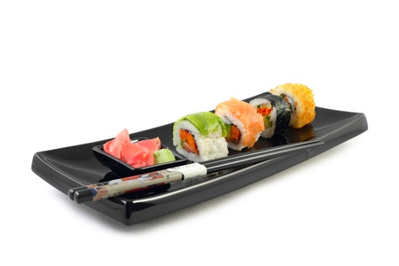 sushi plate: Sushi in black plate on the white background Stock Photo