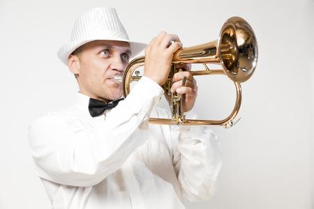 flugelhorn: Stylish trumpeter playing the flugelhorn