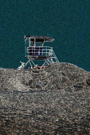 해변에서 근 위 기병 연대 시계 타워
