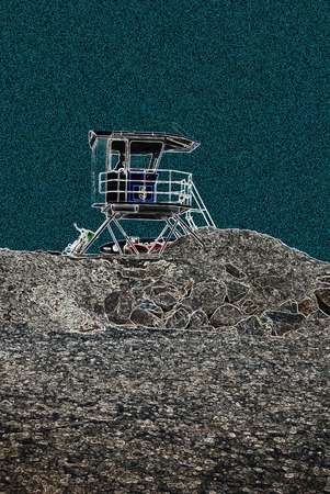 scratchboard: Lifeguard watch tower at the beach